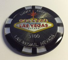 Las Vegas Sign $100 Black Lucky Chip Magnet