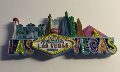 Las Vegas Sign Hotels Glitter Magnet