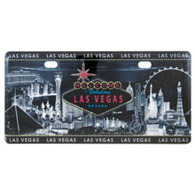 Las Vegas Sign Black and White License Plate