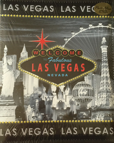 Las Vegas Leather Look Photo Postcard Album