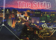 Las Vegas Strip Hotels Glitter Postcard