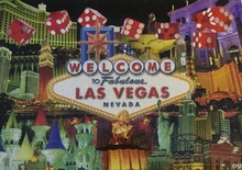 Las Vegas Hotels Red Dice Postcard