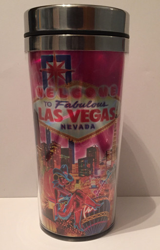 Las Vegas Sign Pink Stainless Steel Travel Coffee Cup