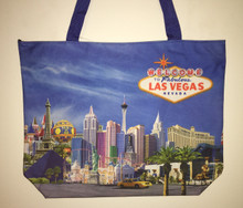 Las Vegas Hotels Skyline Blue Tote Bag