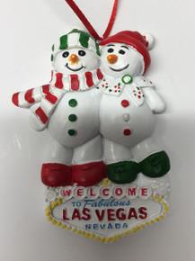 Las Vegas Sign Snowman Couple Tree Ornament