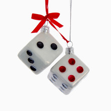 White Dice Glass Christmas Tree Ornament Kurt Adler