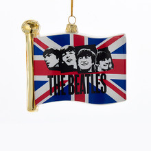 Beatles British Flag Glass Christmas Tree Ornament Kurt Adler