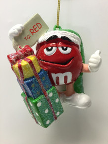 M&M Candy Red Holiday Glitter Ornament