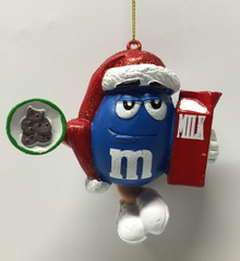 M&M Candy Blue Holiday Christmas Tree Ornament Milk And Cookies