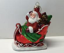 Santa Claus Sleigh Christmas Tree Glass Ornament