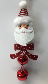Santa Claus Head Christmas Tree Ornament Jingle Bells