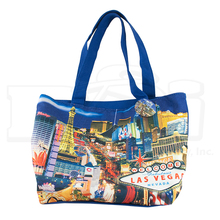 Las Vegas Sign Hotels Casino Canvas Blue Tote Handbag