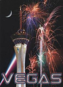 Stratosphere Las Vegas Fireworks Postcard