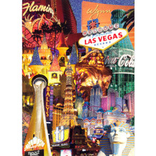 Las Vegas Hotels Glitter Postcard