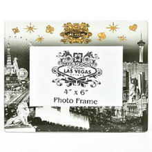 Las Vegas Strip Picture Frame Photo Glass Black White Gold