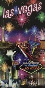 Las Vegas Strip Hotel Neon Fireworks Beach Towel