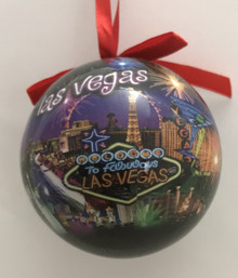 Las Vegas Strip Neon Fireworks Ball Ornament