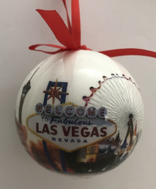 Las Vegas White Christmas Tree Ball Ornament