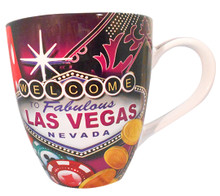 Las Vegas Sign Large Belly Coffee Mug Red Dice