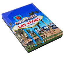 Welcome Fabulous Las Vegas Sign Beveled Glass Magnet