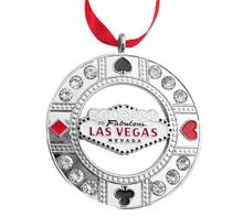 Las Vegas Sign Round Rhinestone Silver Ornament