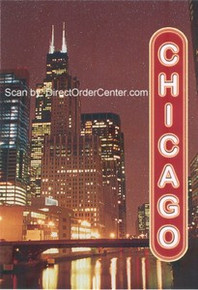 Chicago Night Scene Postcard