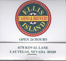 Ellis Island Las Vegas Casino Match Book
