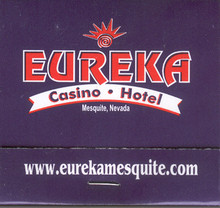 Eureka Casino Hotel Mesquite Nevada Match Book