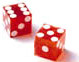 Red Craps Game Dice Set of 2