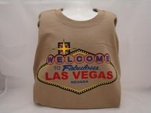 Welcome To Las Vegas Sign Cotton T-Shirt Tan