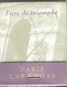 Paris Las Vegas Match Book l'arc de triomphe