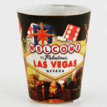 Las Vegas Sign Hotel Collage Dice Shot Glass