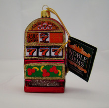 Slot Machine Glass Christmas Ornament