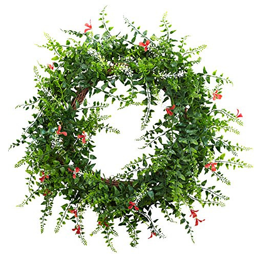 """18"""" Floral & Fern Double Ring Wreath w/Twig Base"""
