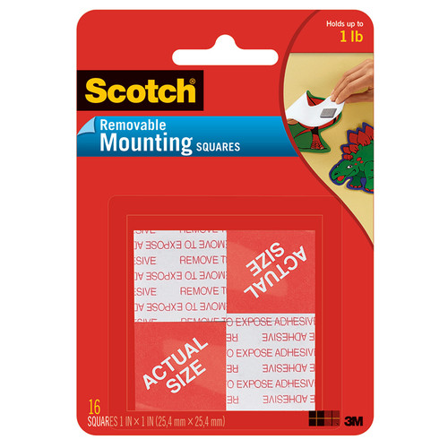 3m Company MMM108 Mounting Squares Removable 16 1in Squares Per Pk