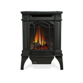 The Napoleon Arlington™ Gas Stove crafted in cast iron, with its slender, space saving design and 45° venting, is perfect for smaller rooms. The Arlington™ is available in painted black and comes standard with a MIRRO-FLAME™ Porcelain Reflective Radiant Panel. Even though small in size, it holds a large PHAZERAMIC™ burner system, PHAZER® log set and brightly glowing ember bed that can be viewed through the European styled ceramic glass viewing area.