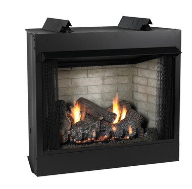Fireplace pictured with optional logs and brick liner.