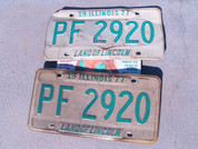 Illinois car license plate set old vintage