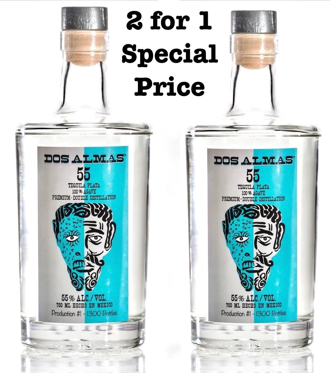 DOS ALMAS 55 PLATINUM TEQUILA Two for price of one