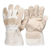 Pigskin Leather Canvas Back Work Glove Reinforced