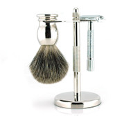 Ice Butterfly Safety Razor Set 3pc - Silver/Mixed Badger (3918-3-A-M)