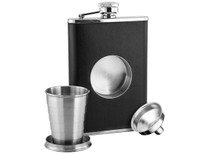 Savoir Flask - Faux Leather with Telescopic Cup -  8oz (FBKT8Z)