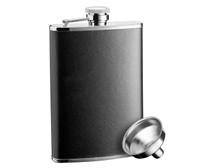 Savoir Flask - Black Leather - 8oz (FLBK8Z)