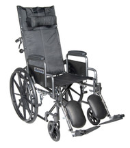 """Silver Sport Reclining Wheelchair with Elevating Leg Rests, Detachable Desk Arms, 20"""" Seat"""