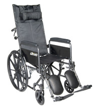 """Silver Sport Reclining Wheelchair with Elevating Leg Rests, Detachable Full Arms, 18"""" Seat"""