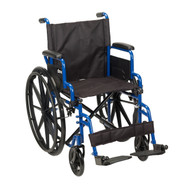"Blue Streak Wheelchair with Flip Back Desk Arms, Swing Away Footrests, 18"" Seat"