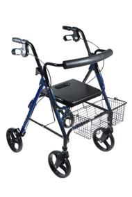 """DLite Lightweight Walker Rollator with 8"""" Wheels and Loop Brakes, Blue"""