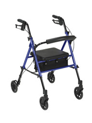 "Adjustable Height Rollator with 6"" Wheels, Blue"