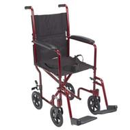 "Lightweight Transport Wheelchair, 17"" Seat, Red"
