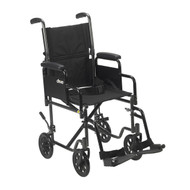 "Lightweight Steel Transport Wheelchair, Detachable Desk Arms, 17"" Seat"